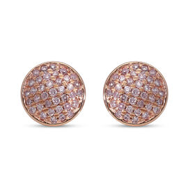 9K Rose Gold Natural Pink Diamond (I3) Stud Earrings (with Push Back) 0.35 Ct.