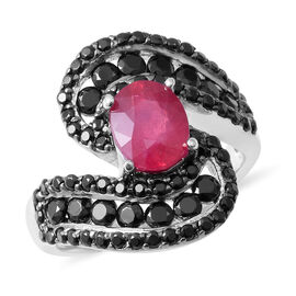 African Ruby (Ovl 2.67 Ct), Boi Ploi Black Spinel Ring (Size O) in Rhodium and Black Overlay Sterling Silver