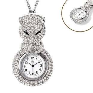 STRADA Japanese Movement White Austrian Crystal Studded Water Resistant Leopard Pocket Watch with Ch