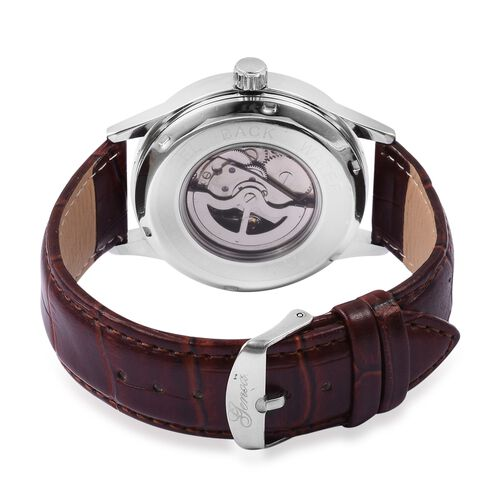 GENOA Automatic Mechanical Movement White Dial Water Resistant Watch in Silver Tone with Reddish Brown Strap