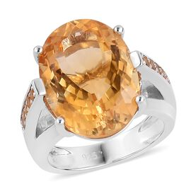 Rare Size Madeira Citrine (Ovl 18x13mm) and Citrine Ring in Rhodium Plated Sterling Silver 12.20 Ct.