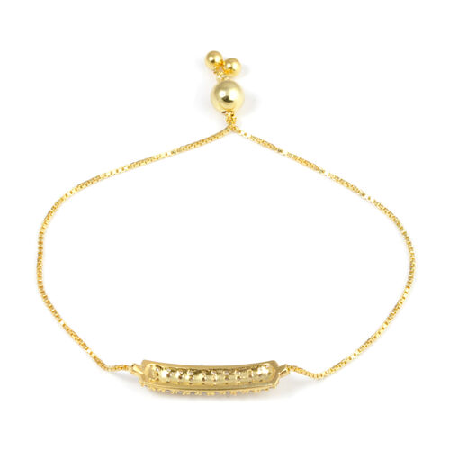 ELANZA AAA Simulated Diamond (Rnd) Adjustable Bracelet (Size 6.5 to 7.5) in 14K Gold Overlay Sterling Silver. Silver wt. 4.70 Gms.