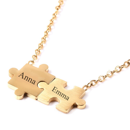 Personalise Engravable Puzzle Necklace, Size 17+2 Inch, Stainless Steel