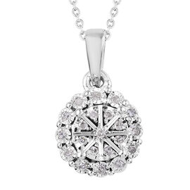 Diamond (Rnd) Pendant With Chain (Size 18) in Platinum Overlay Sterling Silver 0.100 Ct.
