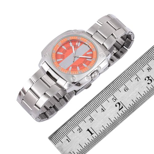 STRADA Japanese Movement Orange Dial Water Resistant Watch in Silver Tone with Stainless Steel Back