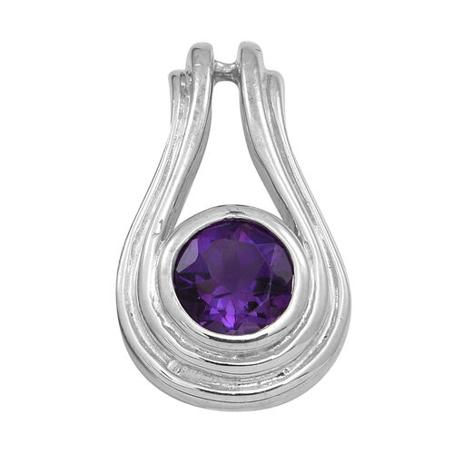 Amethyst (Rnd) Solitaire Pendant in Rhodium Plated Sterling Silver 1.250 Ct.