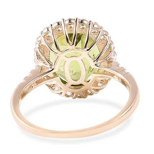 Extremely Rare - 9K Yellow Gold AAA Hebei Peridot (Ovl 12x10mm), Natural Cambodian Zircon Ring 6.00 Ct