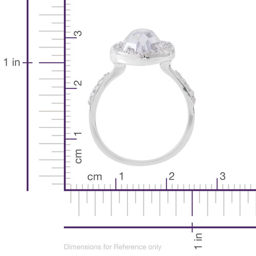 ELANZA Simulated White Diamond (Mrq) Ring in Rhodium Plated Sterling Silver, Silver wt 3.74 Gms.