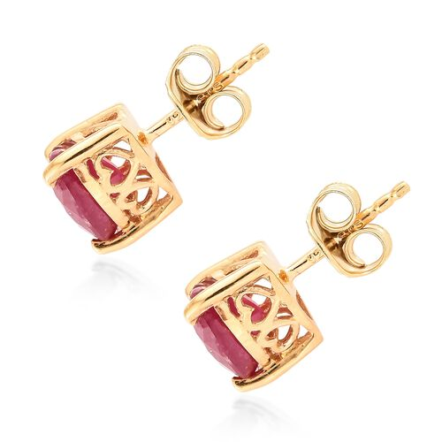 African Ruby 3 Ct Heart Stud Silver Earrings (with Push Back) in 14K Gold Overlay