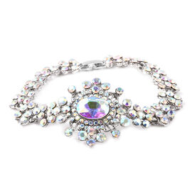 Simulated Mercury Mystic Topaz (Ovl), Simulated Mystic White Crystal Bracelet (Size 7.5) in Silver T
