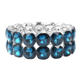 Simulated London Blue Topaz Stretchable Bracelet in Silver Plated 6.5 Inch
