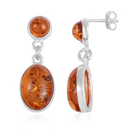 Baltic Amber Drop Earrings in Rhodium Plated Sterling Silver