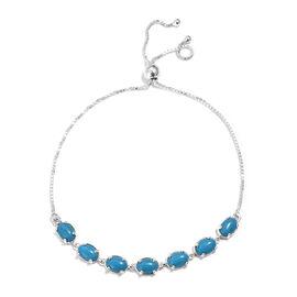 Designer Inspired- Blue Howlite (Ovl) Bracelet (Size 9.5 Adjustable)  in Sterling Silver 4.750 Ct, S