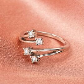 GP Diamond and Kanchanaburi Blue Sapphire Ring in Platinum Overlay Sterling Silver