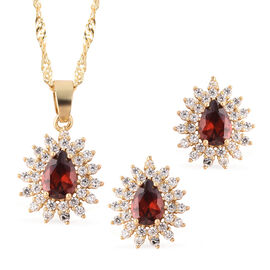 2 Piece Set - Simulated Garnet and Simulated Diamond Pendant with Chain (Size 20 with 2 inch Extende
