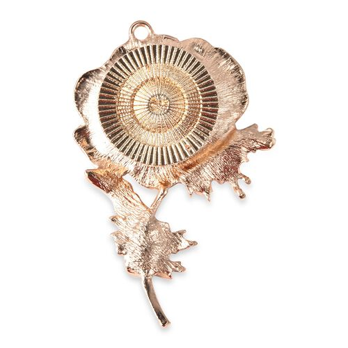 TJC Poppy Design - White Austrian Crystal Enamelled Poppy 2-in-1 Brooch and Pendant with Chain (Size 24) in Gold Tone