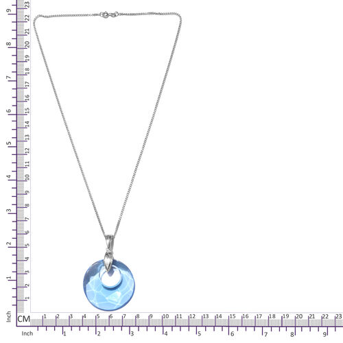 J Francis - Crystal from Swarovski Aquamarine Colour Crystal Pendant With Chain (Size 20) in Platinum Overlay Sterling Silver, Silver wt 9.00 Gms