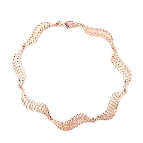 LucyQ Wave Bracelet in Rose Gold Plated Sterling Silver 10.14 Grams 8 Inch