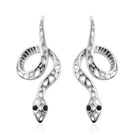 RACHEL GALLEY Venom Collection- Black Spinel Hook Earrings in Rhodium Overlay Sterling Silver