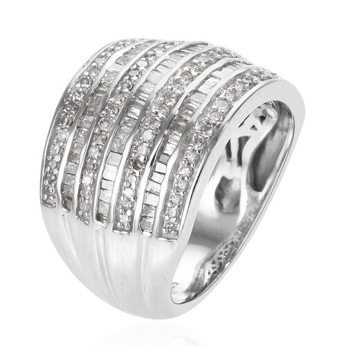 Diamond (Rnd and Bgt) Ring in Platinum Overlay Sterling Silver 1.000 Ct.