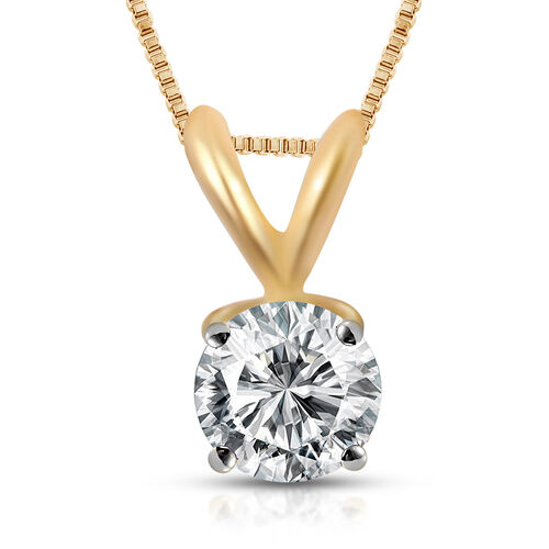 ILIANA 18K Yellow Gold IGI Certified (SI2/H) Diamond (Rnd) Pendant with Chain 0.500 Ct.