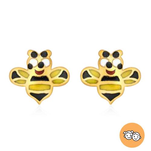 Children Happy Bee Stud Earrings in 9K Yellow Gold