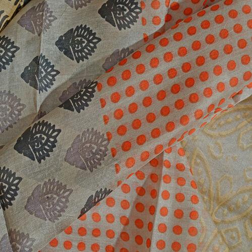 100% Mulberry Silk Orange, Black, Beige and Multi Colour Arabesque Pattern Golden Colour Scarf (180x100 Cm)