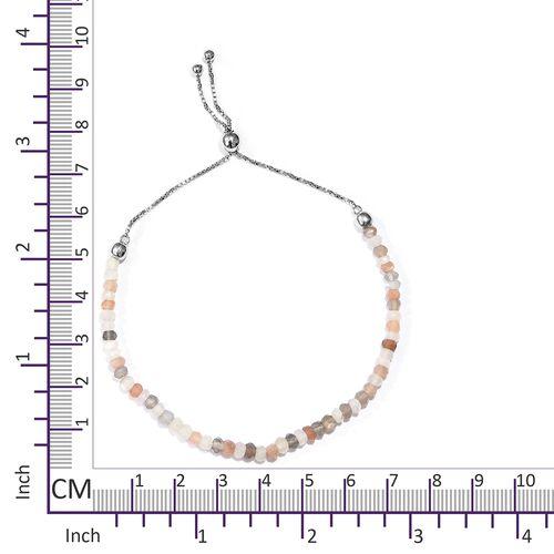 Multi Colour Moonstone (Rnd) Adjustable Bracelet (Size 6.5 to 9) in Platinum Overlay Sterling Silver 11.200 Ct.