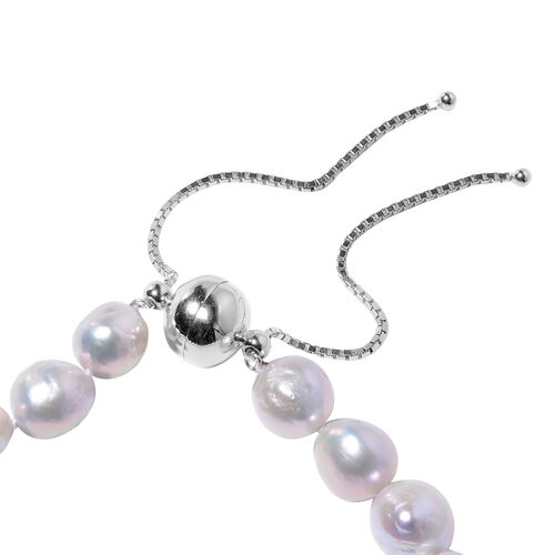 One Time Deal- Organic  Edison Pearl Bead Necklace (Size 18 - 24 Adjustable) with Magnetic Lock in Rhodium Overlay Sterling Silver