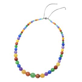 Multi Colour Jade (Rnd 4-15 mm) Graduated Necklace (Size 18-22 Adjustable) in Sterling Silver 270.00