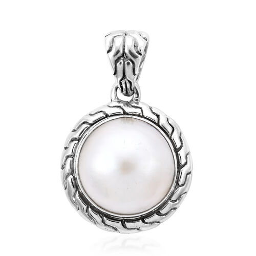 Royal Bali Collection White Mabe Pearl Solitaire Pendant in Sterling Silver