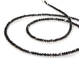 15.86 Ct Black Diamond Beaded Necklace in Rhodium Plated Silver 16 Inch