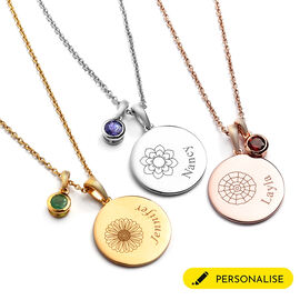 """Personalised Engraved Birthflower and Name Disc with Birthstone Necklace, Size 20"""""""