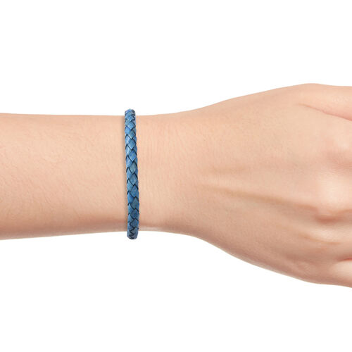 Genuine Braided Leather Bracelet (Size 7.75) in Stainless Steel - Blue