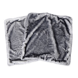 Set of 2 - Faux Fur and Mink Cushion Cover (Size 45x45 Cm) - Colour Grey