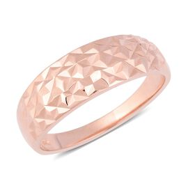 Designer Inspired- Rose Gold Overlay Sterling Silver Diamond Cut Ring (Size T)