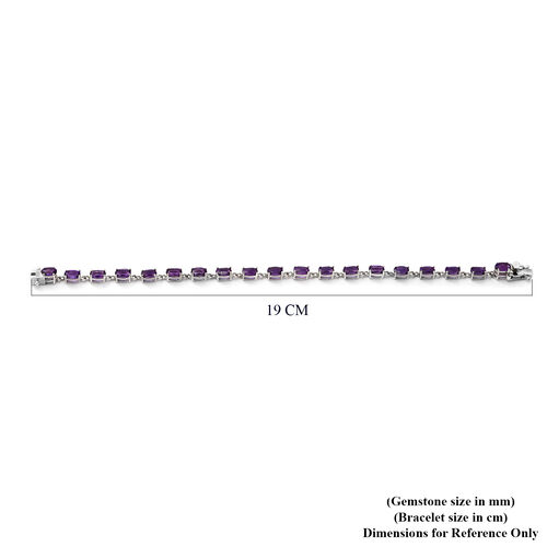 Lusaka Amethyst Bracelet (Size 8) in Rhodium Overlay Sterling Silver 9.24 Ct