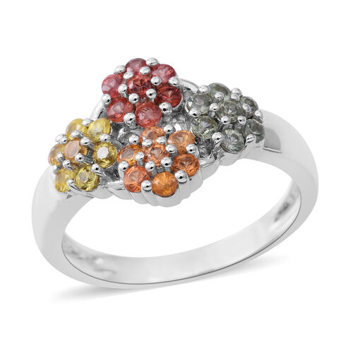 Rainbow Sapphire Floral Ring in Rhodium Plated Sterling Silver 1.160 Ct.