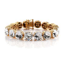 J Francis Crystal From Swarovski White Crystal Bracelet (Size 7.5) in 18K Gold Tone