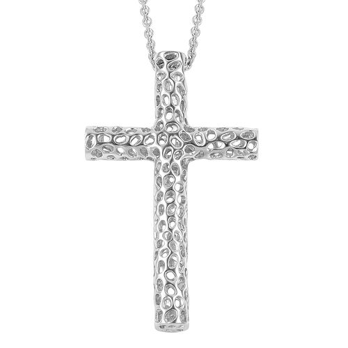 RACHEL GALLEY Rhodium Plated Sterling Silver Lattice Cross Pendant with Chain (Size 30), Silver wt 14.27 Gms.
