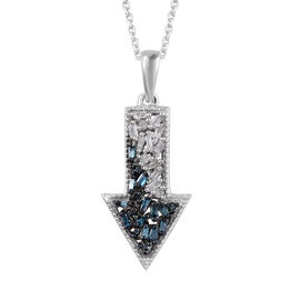 Blue and White Diamond (Bgt and Rnd) Arrow Pendant With Chain (Size 20) in Platinum Overlay Sterling