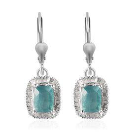 Grandidierite, White Diamond Earring in Platinum Overlay Sterling Silver 0.44 ct  2.080  Ct.