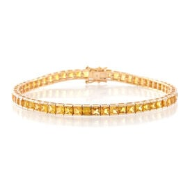 Exclusive One Time Deal-9K Yellow Gold AAA Chanthaburi Yellow Sapphire (Princess) Tennis Bracelet (Size 7.5) 12.000 Ct. Gold Wt 8.00 Gms