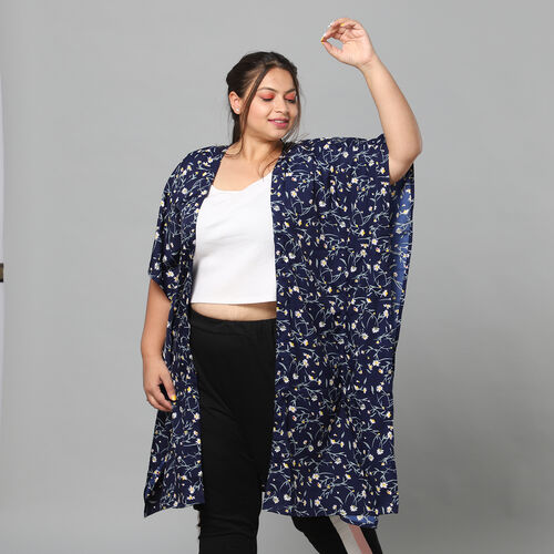 Floral Bohemian Look Long Kimono in Navy (Size up to 20)