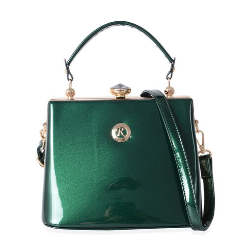 Boutique Collection High Glossed Vintage Style Green Tote Bag with Adjustable and Removable Shoulder Strap (Size 22x18x14 Cm)