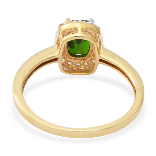 Russian Diopside and Natural Cambodian White Zircon Halo Ring in Gold Overlay Sterling Silver 1.870  Ct.