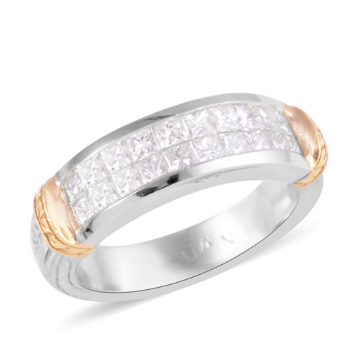 Signature Collection 0.85 Ct Diamond Two Row Half Eternity Band Ring in 950 Platinum and 18K Gold SG