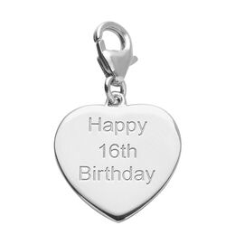 Platinum Overlay Sterling Silver Happy 16th Birthday Charm