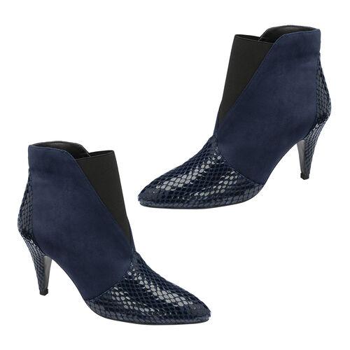 Ravel Navy Snake Print Baracoa Pull-On Boots (Size 4)