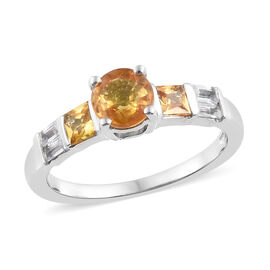 Yellow Sapphire (Rnd), Natural Cambodian Zircon Ring in Platinum Overlay Sterling Silver 1.500 Ct.